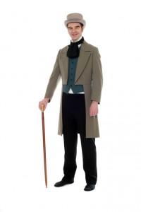 grauer Cut, taubenblaue Weste, schwarze lange Hose, Zylinder Gr. 50