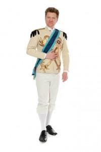 Jacke aus cremefarbener Wolle mit Goldornamenten und Epauletten, schmale Hose