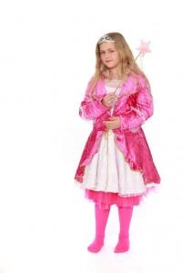 Kleid in pinkfarbenen Pannéesamt mit Tüllunterrock Gr. 164
