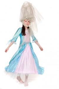 hellblau-rosafarbenes Prinzessinkleid mit Spitzhut (Hennin) Gr. 152