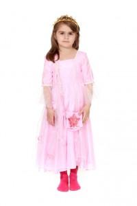 rosa Prinzessinenkleid, Überrock aus Organza mit Rosen besteckt Gr. 110