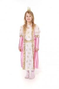 weiß-rosa Prinzessinkleid mit Lilien bedruckt