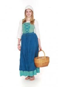 türkisfarbenes Leinenkleid zum Schnüren mit blauer Schürze und Häubchen Gr. 176