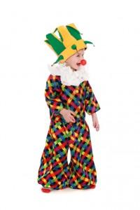 Clownsjacke und Hose mit Rüschenkragen und Schellenkappe