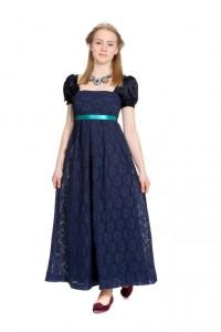 blaues Spitzenkleid mit hochangesetzter Taille Gr. 36