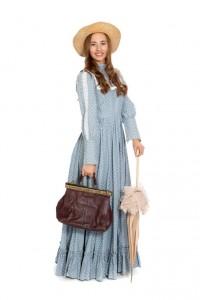 hellblaues Kleid mit Millefleur-Druck, Gr. 36