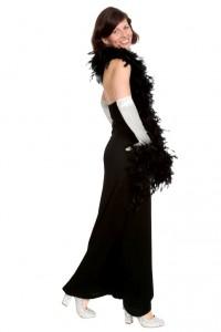 schwarzes langes Kleid mit tiefem Rückenausschnitt Gr. 36