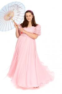 rosafarbenes Chiffonkleid mit Paillettenbesticktem Oberteil Gr. 40