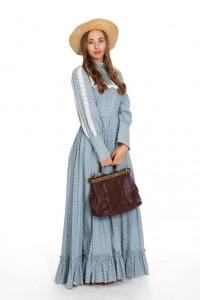 hellblaues Baumwollkleid mit Millefleur Druck