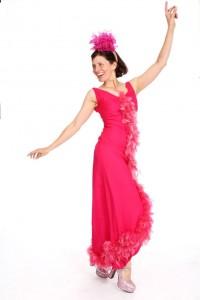 pinkfarbenes Kleid mit Federbesatz Gr. S
