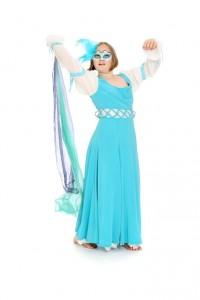 weichfallendes türkises Kleid mit geschnürten Ärmeln Gr. 164