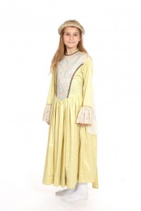 gelbes Kleid mit Brokateinsatz und Spitze Gr. 134