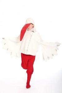 Flügelhemd, rote Hose, Stulpen und Schnabel