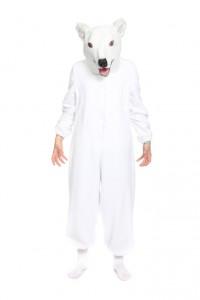 weißer Overall mit Eisbärmaske