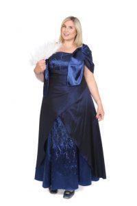 mit Perlen besticktes, mitternachtsblaues, langes Kleid