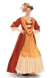 rostfarbenes, 2-teiliges Kleid mit Reifrock Gr. 40