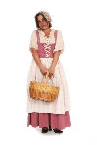 rosa Schnürkleid mit Schürze und Bluse Gr. 36/38