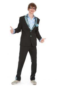 gestreifter Anzug mit Paillettenbesatz