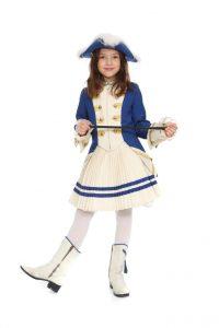 blaue Funkenjacke, Plisséerock und Stiefel in verschiedenen Kindergrößen